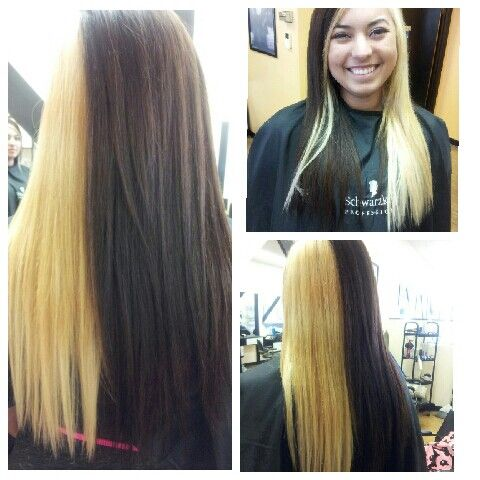 Two Toned Hair With 20 Inch Tape In Extentions Half Blonde Half
