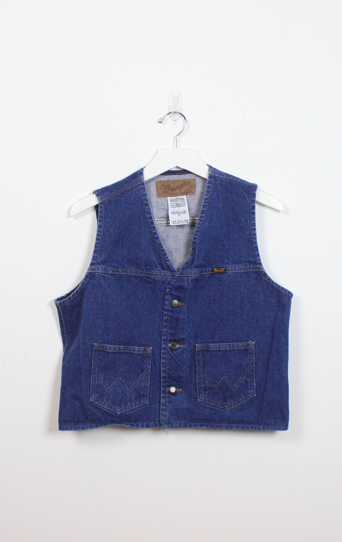 96b0efe80b9e4 Vintage 1970s Denim Vest Dark Blue Jean Vest WRANGLER Brand Western Sleeveless  Denim Jacket Cowboy Hipster