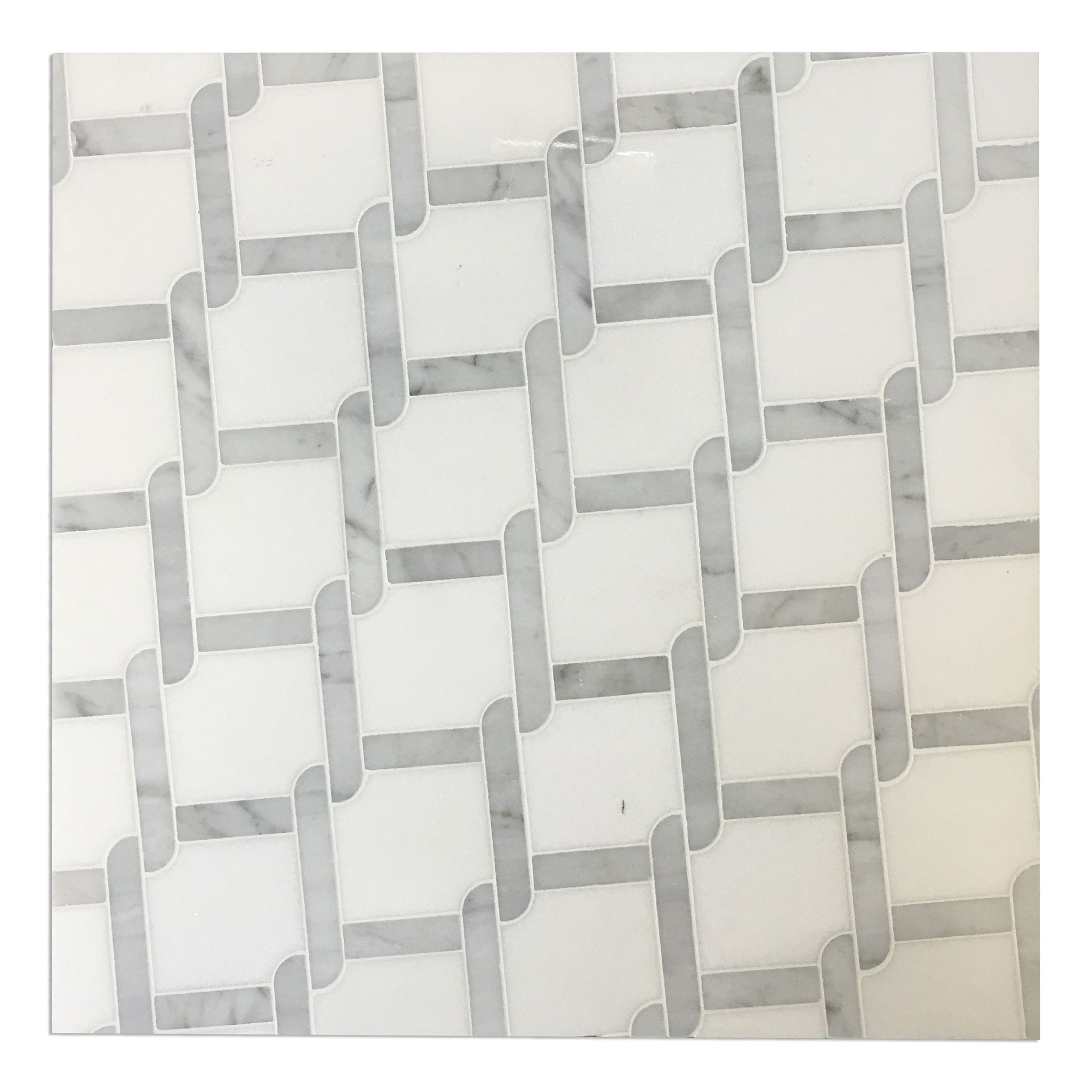 White Thassos Bianco Carrara Polished Marble Trellis Water Jet - Thassos white marble bathroom