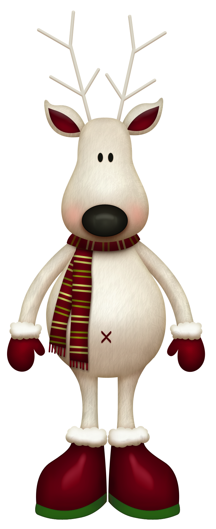 White Reindeer with Red Scarf PNG Picture Christmas