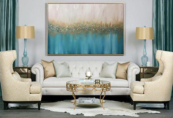 Gro e abstrakte lgem lde gro en wand kunst wand dekor for Wand kunst wohnzimmer