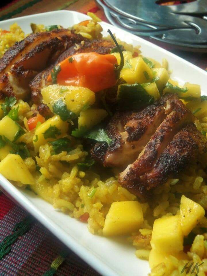 Blackened chicken with savory mango rice poultry recipes