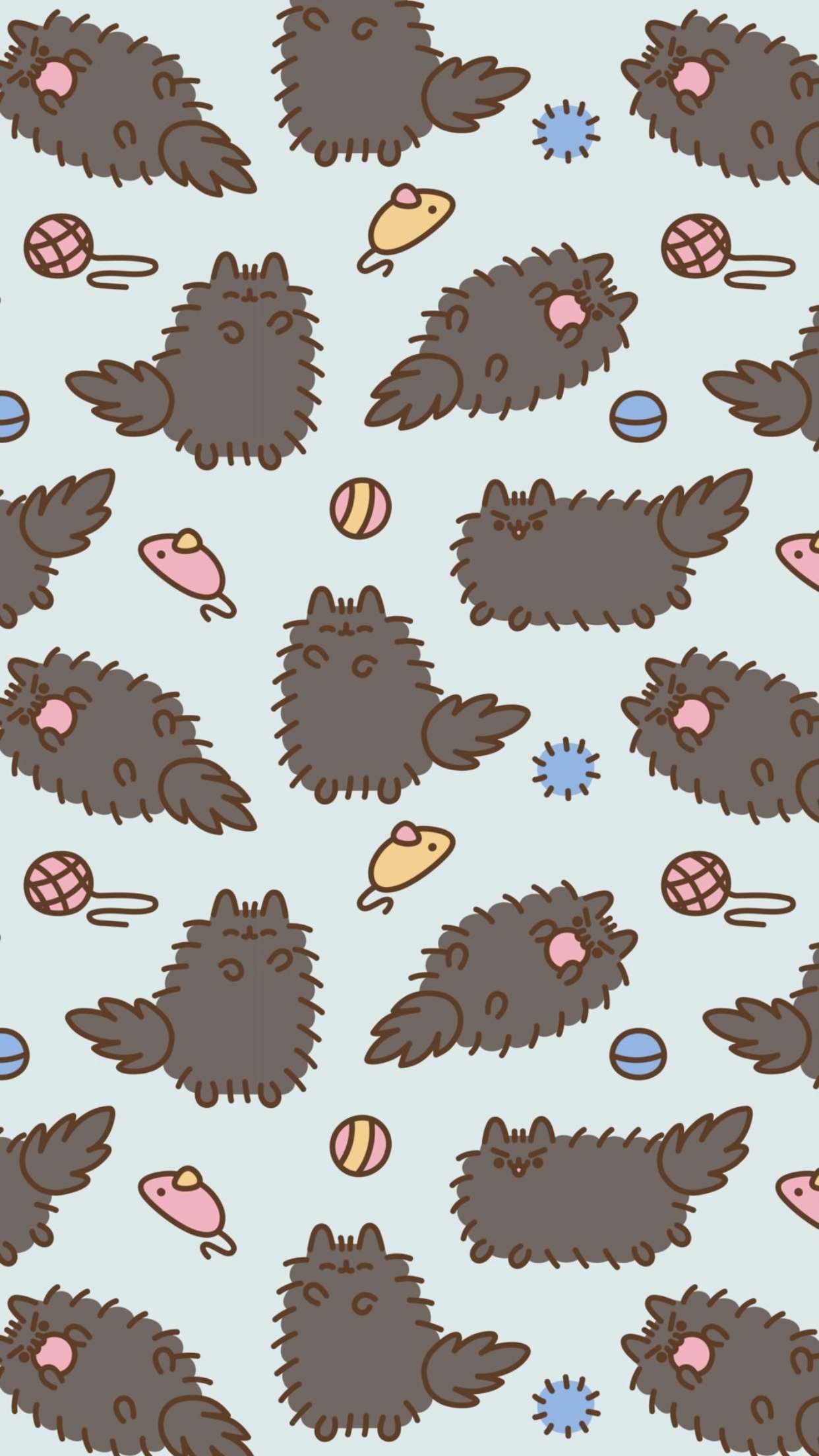 pusheen the cat iphone wallpaper background winter snow iphone