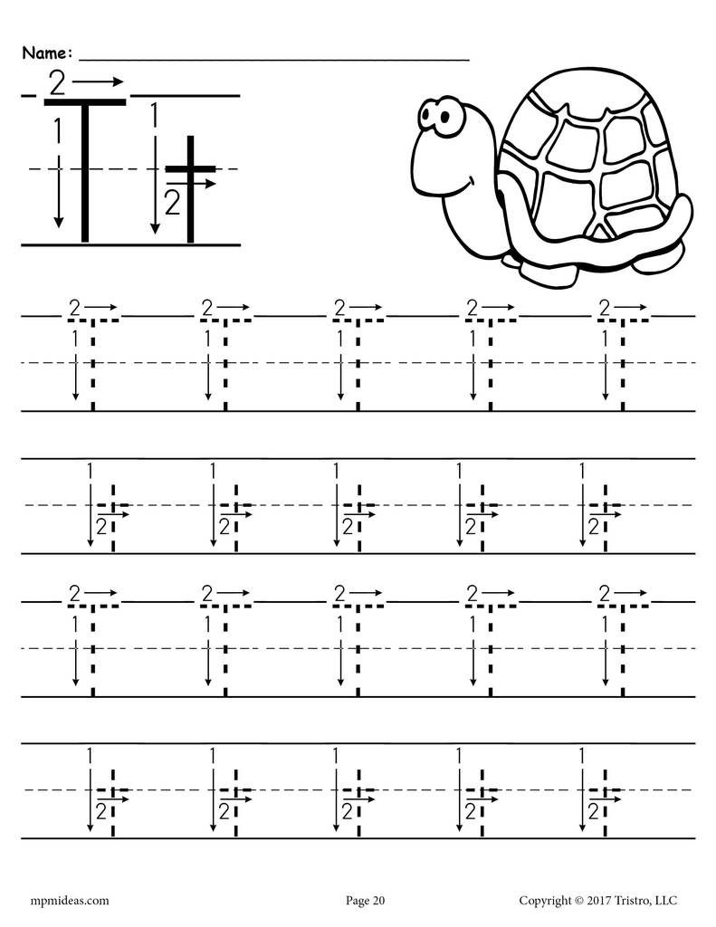 Printable Letter T Tracing Worksheet With Number And Arrow Guides Letter T Worksheets Free Handwriting Worksheets Handwriting Worksheets For Kindergarten [ 1024 x 791 Pixel ]