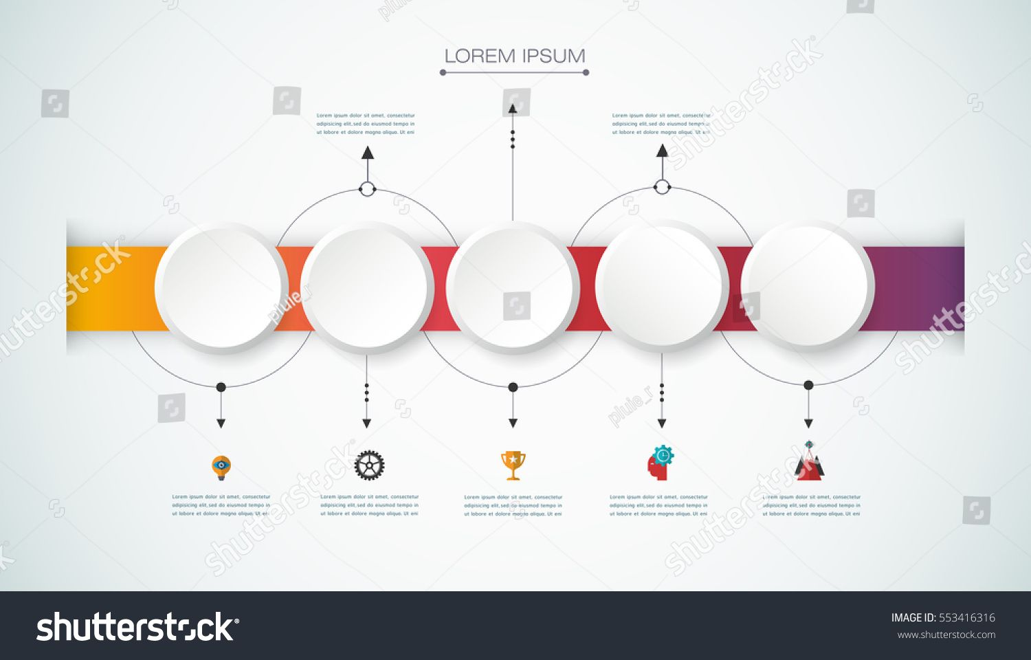 Vector Infographics Design Template With 3d Paper Label