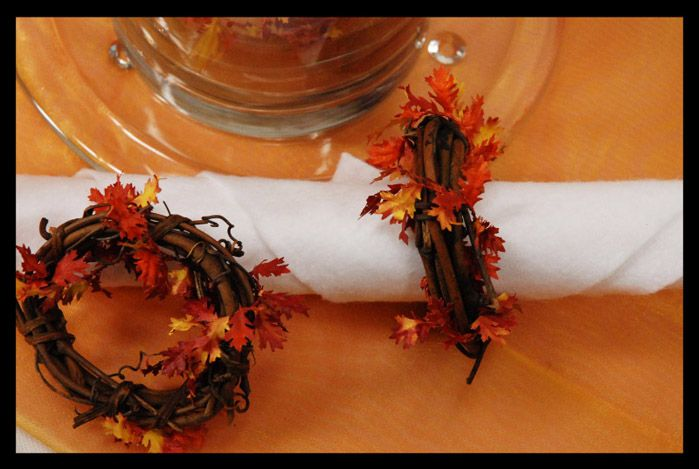 Thanksgiving Napkin Rings Grapevine Rings With Dried Leaf