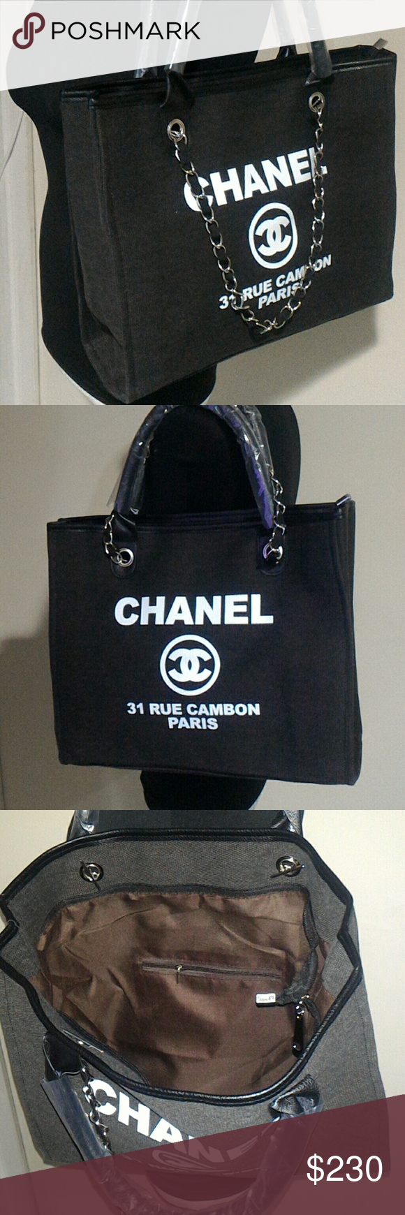 f92ff1f9684 Authentic Chanel VIP Gift Canvas Tote Canvas tote with leather and chain  strap. No cards or codes. chanel Bags Totes