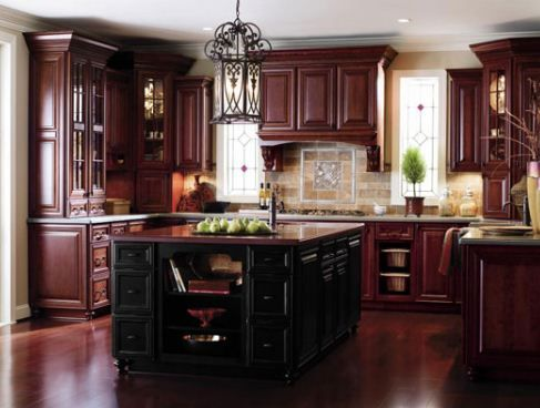 Superbe Dark Cherry Wood Kitchen Cabinets | The Type Of Kitchen Cabinet You Choose  Can Be Affected