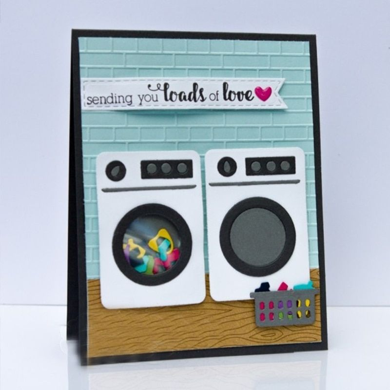 Little bits Knitting Laundry Basket Washing Machine Metal