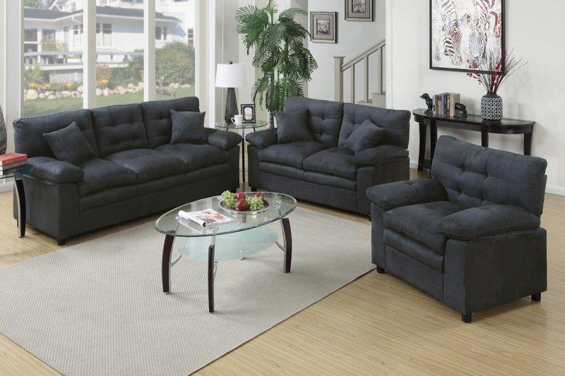 Surprising 3 Pc Caia Ash Microsuede Sofa Set Game Room 3 Piece Evergreenethics Interior Chair Design Evergreenethicsorg