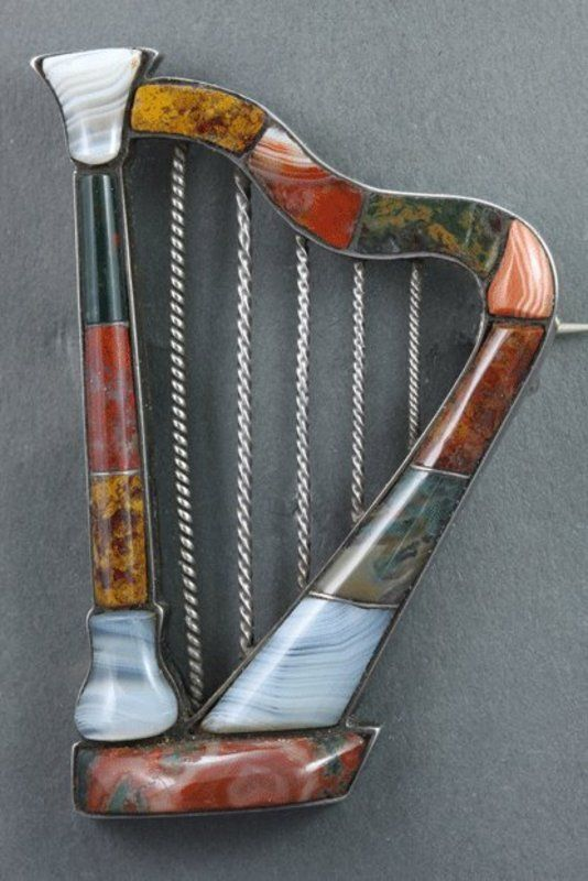 Harp With Beautiful Agate Pieces Lovely Colours