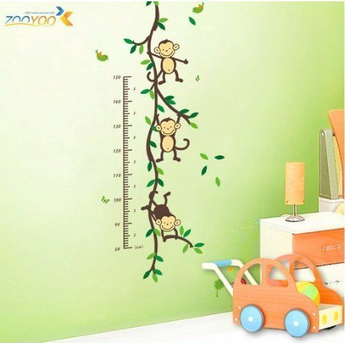 Amazon Funny Monkey Growth Chart Vinyl Wall Decal 29 Closet of - chart samples