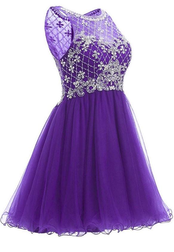 Prom Dress,Purple Prom Dress,Short Prom Dress,Evening Dress,Formal ...