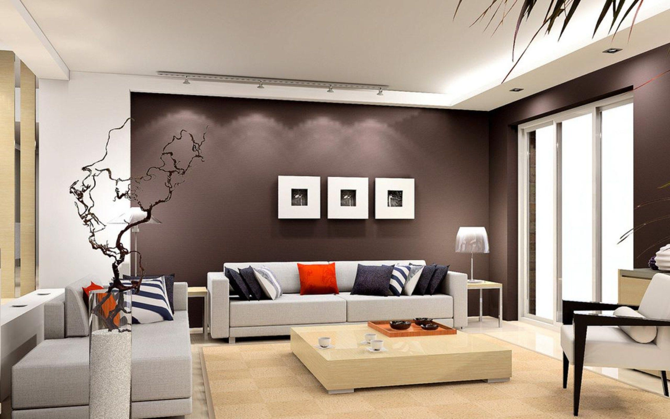 Captivating Living Room Design Recommending Dark Brown Wall Painted Together With Grey Faux Leather Sofa And Cream Square Low Wooden Coffee Table