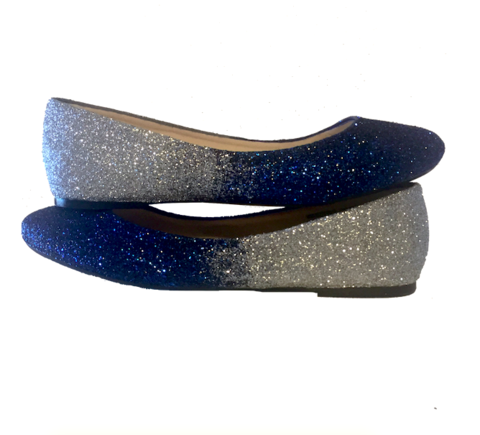 Sparkly Navy Silver Ombre Shoes Wedding Bridal Take 10 Off With