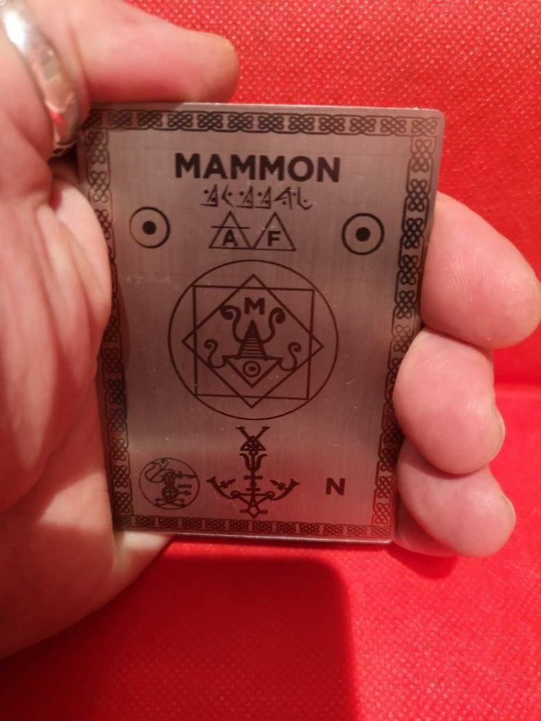 Sigil of Demon Mammon, conjuration card home altar for great