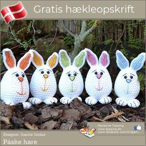 Hæklet påskehare - gratis - dansk - hækleopskrift   Topping DK
