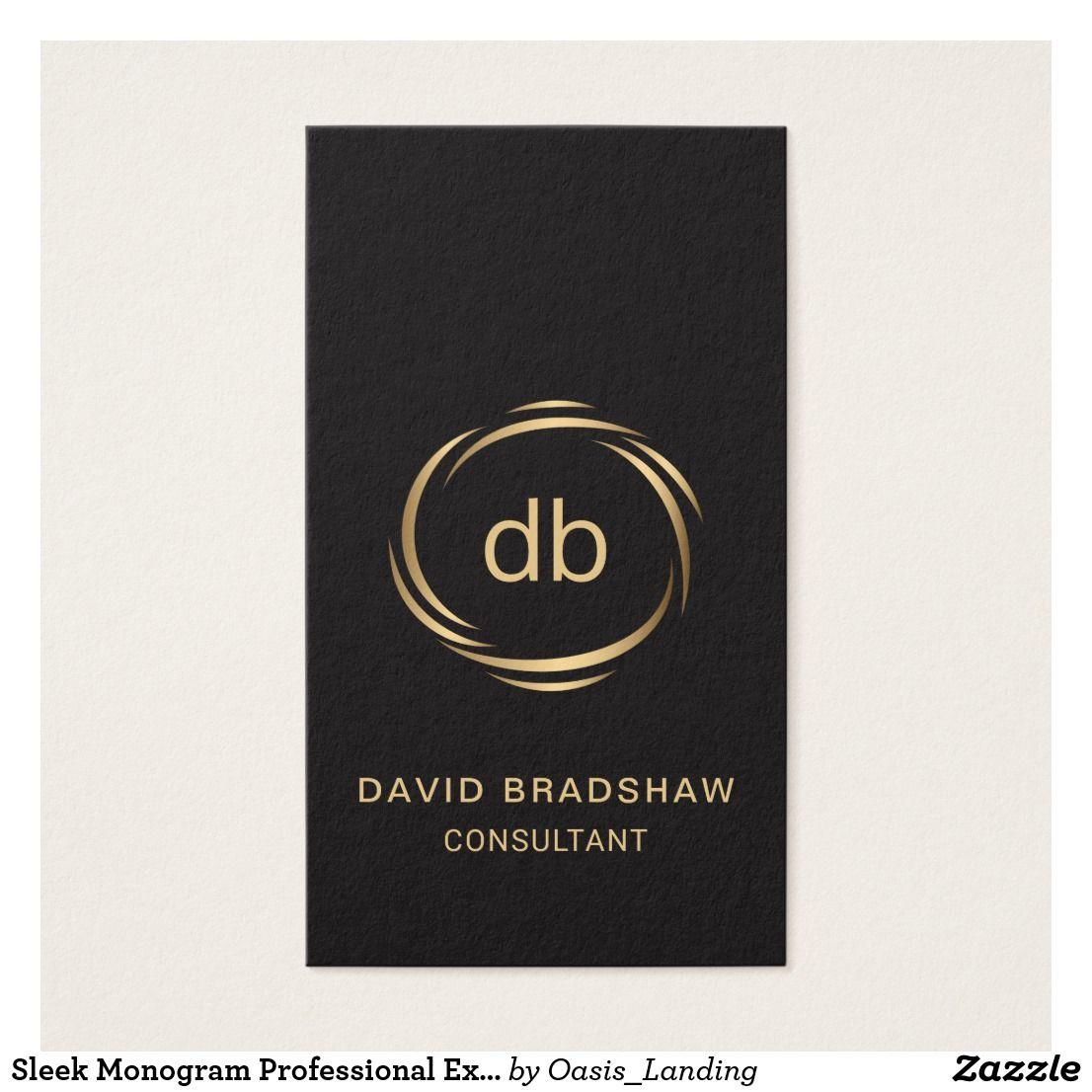 Sleek Monogram Professional Executive Business Card   Business cards