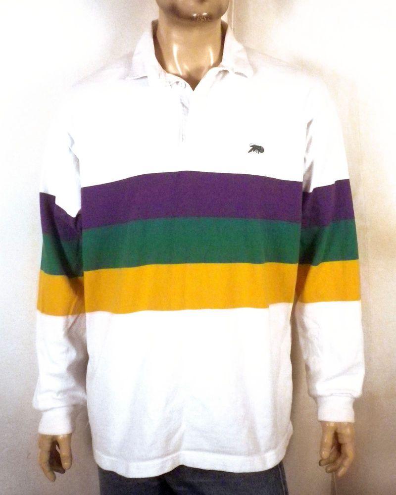 f53dde8a vtg 90s Perlis striped Crawfish Emblem Polo Rugby Shirt Mardi Gras New  Orleans L