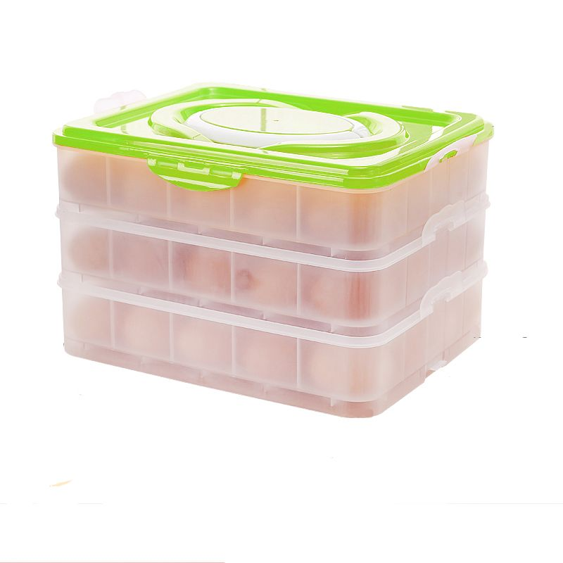Green 3 Tiers Egg Container Carrier Eggs Holder with Handle Fridge