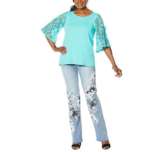 DG2 by Diane Gilman Lace-Sleeve Top More sensuous than sexy, our floral lace-sleeve top adds an understated elegance to your favorite bottoms.