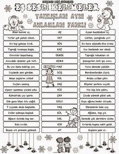 Eş Sesli Kelimeler Pano çalışması Hobim Turkish Lessons Learn