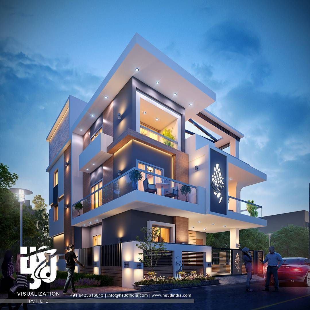 Modernbungalow exteriordesign 3drender night view by www hs3dindia com nirlepkaur id