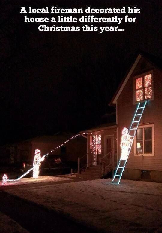 Chuck Norris Weihnachten.Firefighter Christmas Lights Funny Christmas Decorations