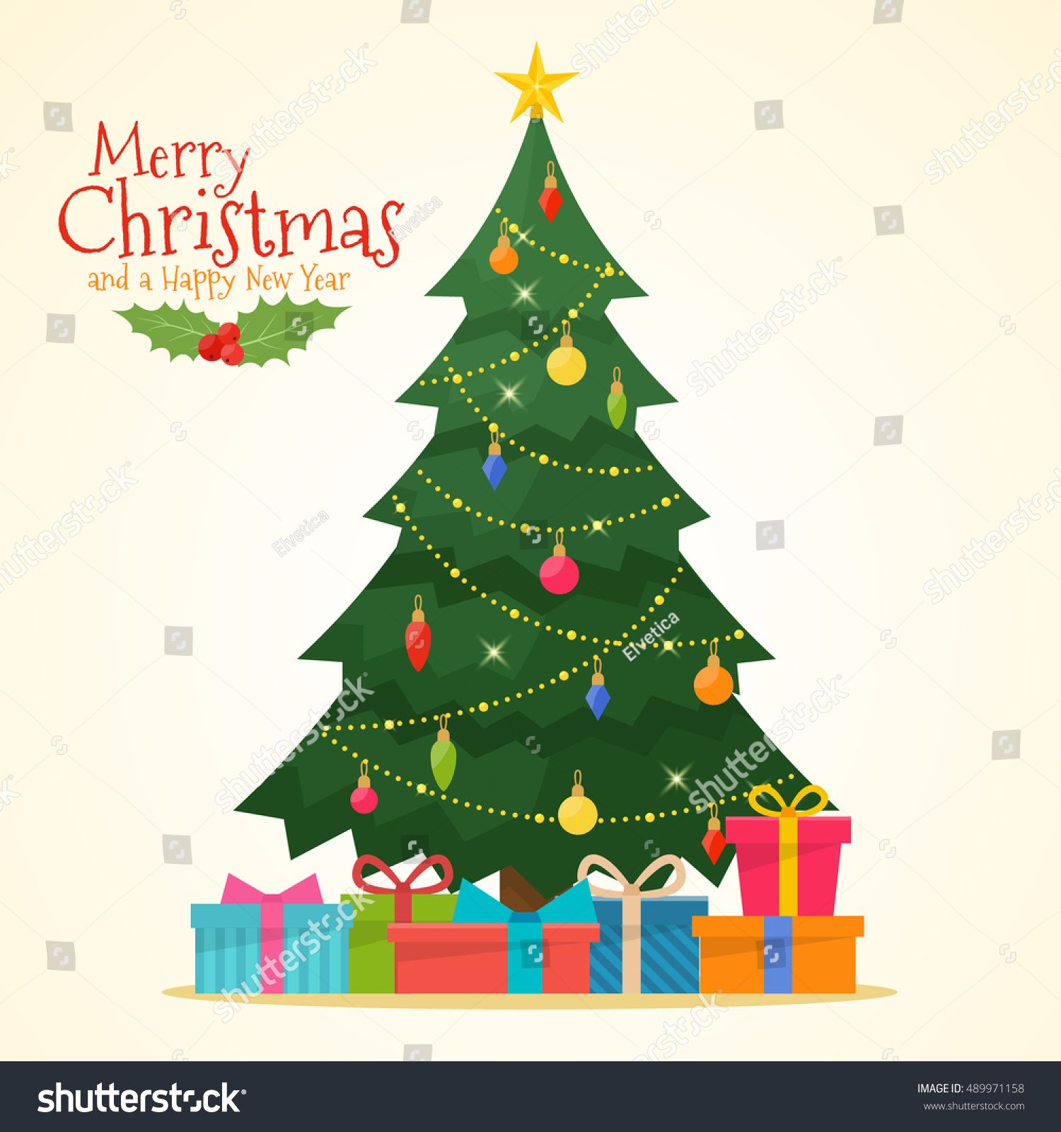 Decorated Christmas Tree With Gift Boxes Star Lights Decoration Balls And Lamps Christmas Tree With Gifts Merry Christmas Photos Christmas Tree Decorations