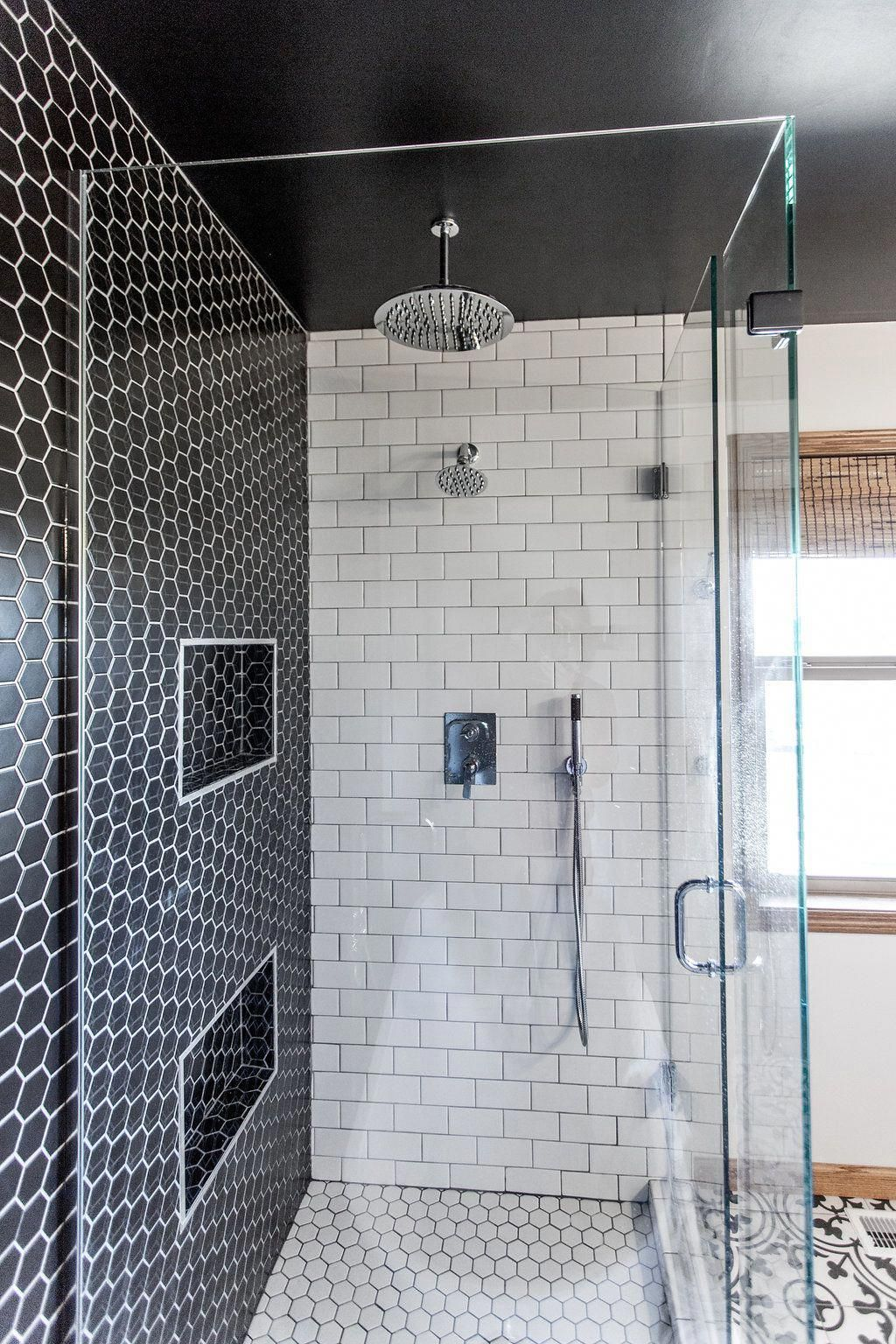 Black Hex White Hex And Subway Tile Bathroom Design Construction2style Entrywayfurniture Bathroom Design Tile Bathroom Diy Bathroom