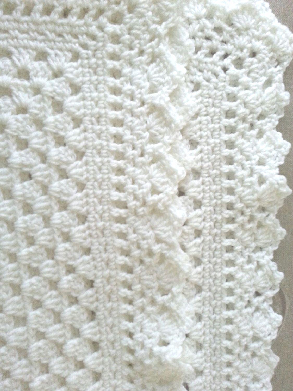 White crochet christening baptism baby blanket with fancy edge ...