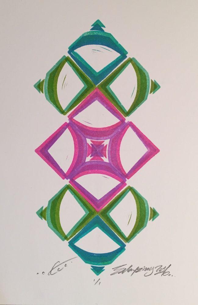 EMayzing One Of A Kind Geometric Block Print, Modern Art, Disco Biscuits  | eBay