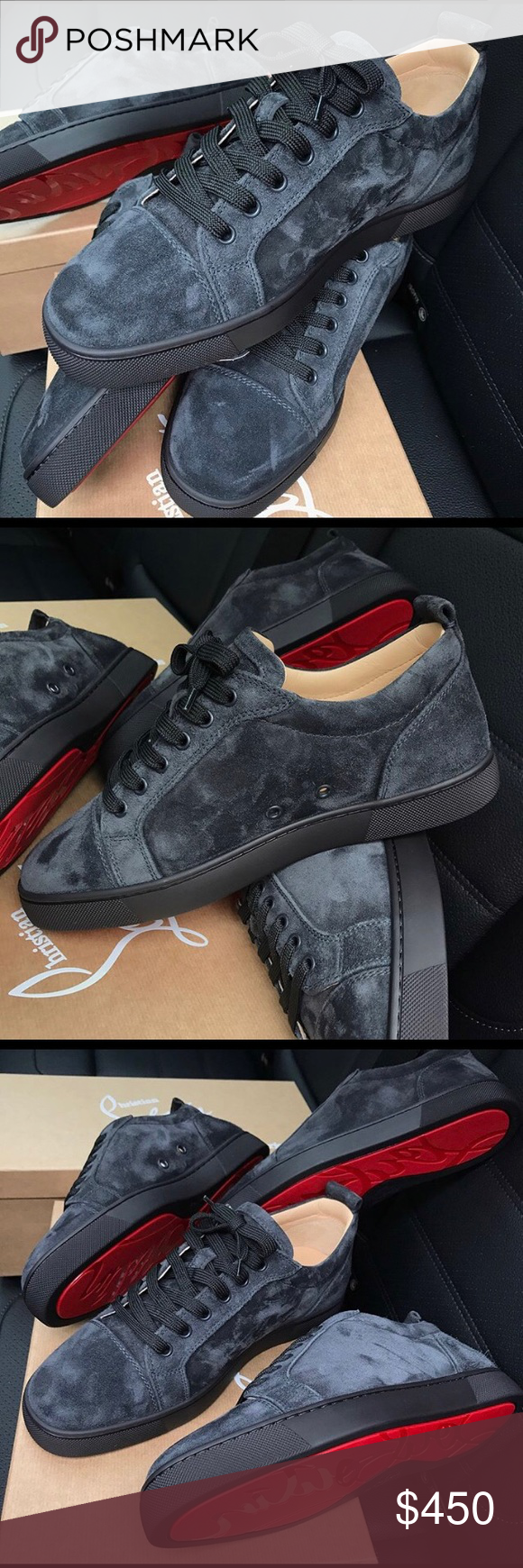 1cc78f601 Christian Louboutin Junior Low Grey Suede 100%AUTHENTIC No Fakes Sold Here❌  100%