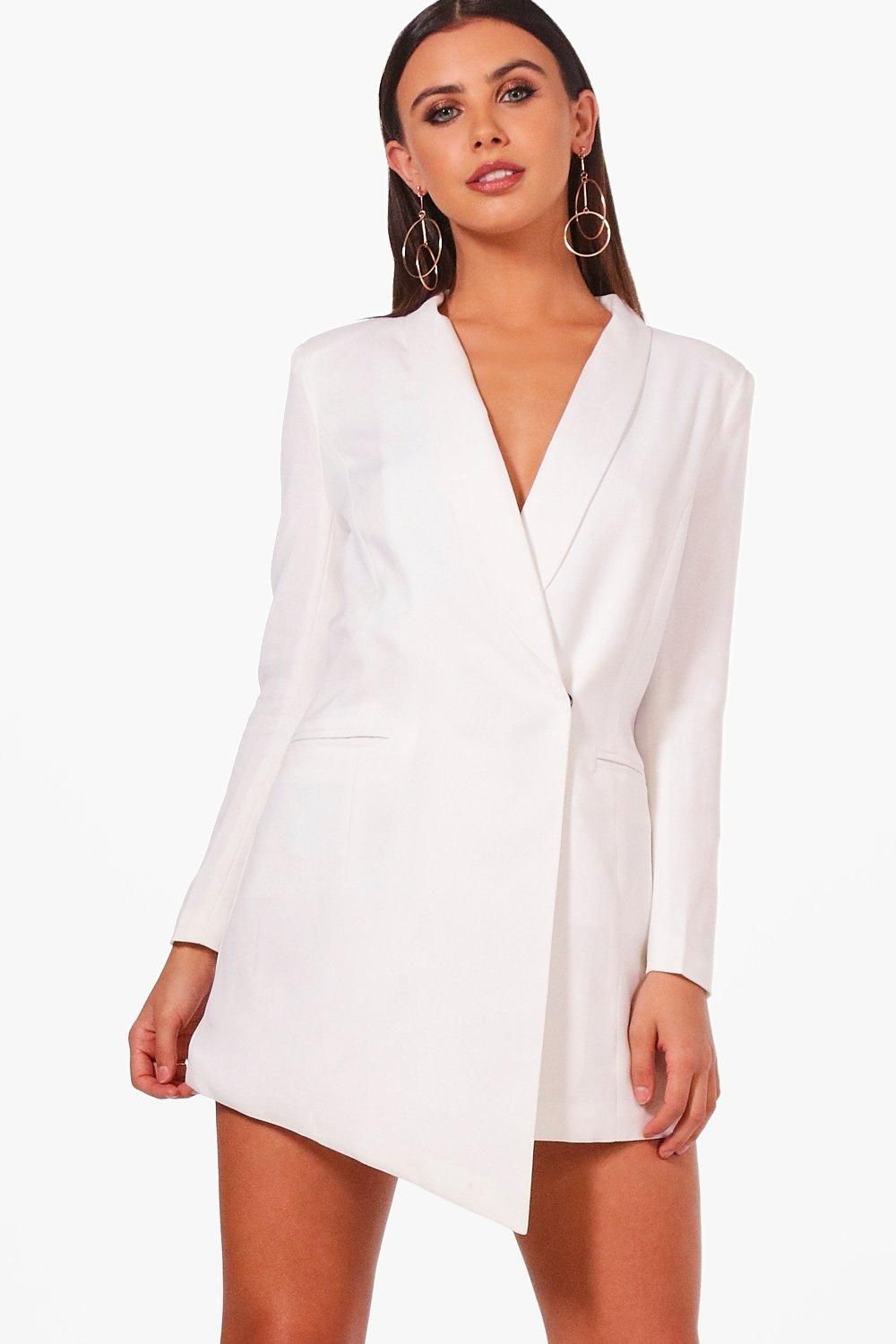 71458dd6b6 Click here to find out about the Petite Asymmetric Blazer Dress from Boohoo