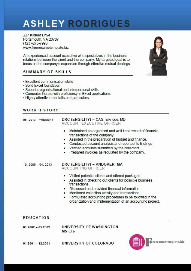 free executive resume templates best of account executive