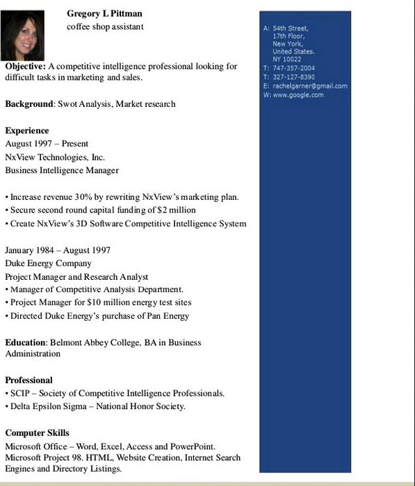 Coffee Shop Assistant Resume Template  HttpResumesdesignCom