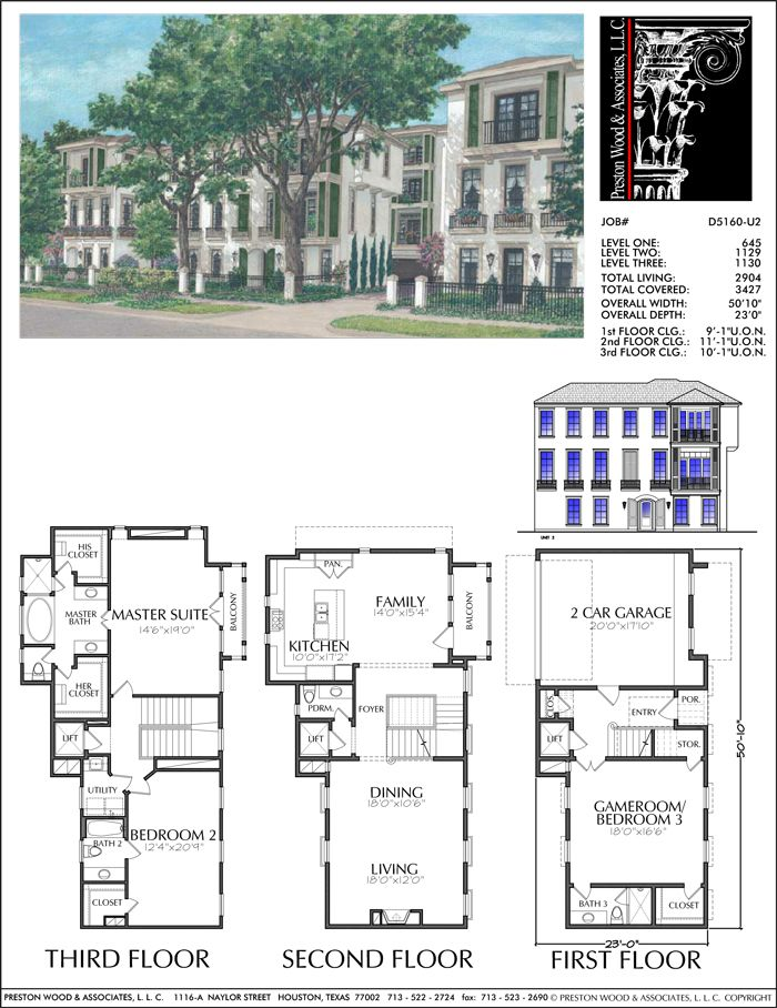 Three Story Townhouse Plan D5160 U2 Diy House Plans Garage Apartment Floor Plans House Plans