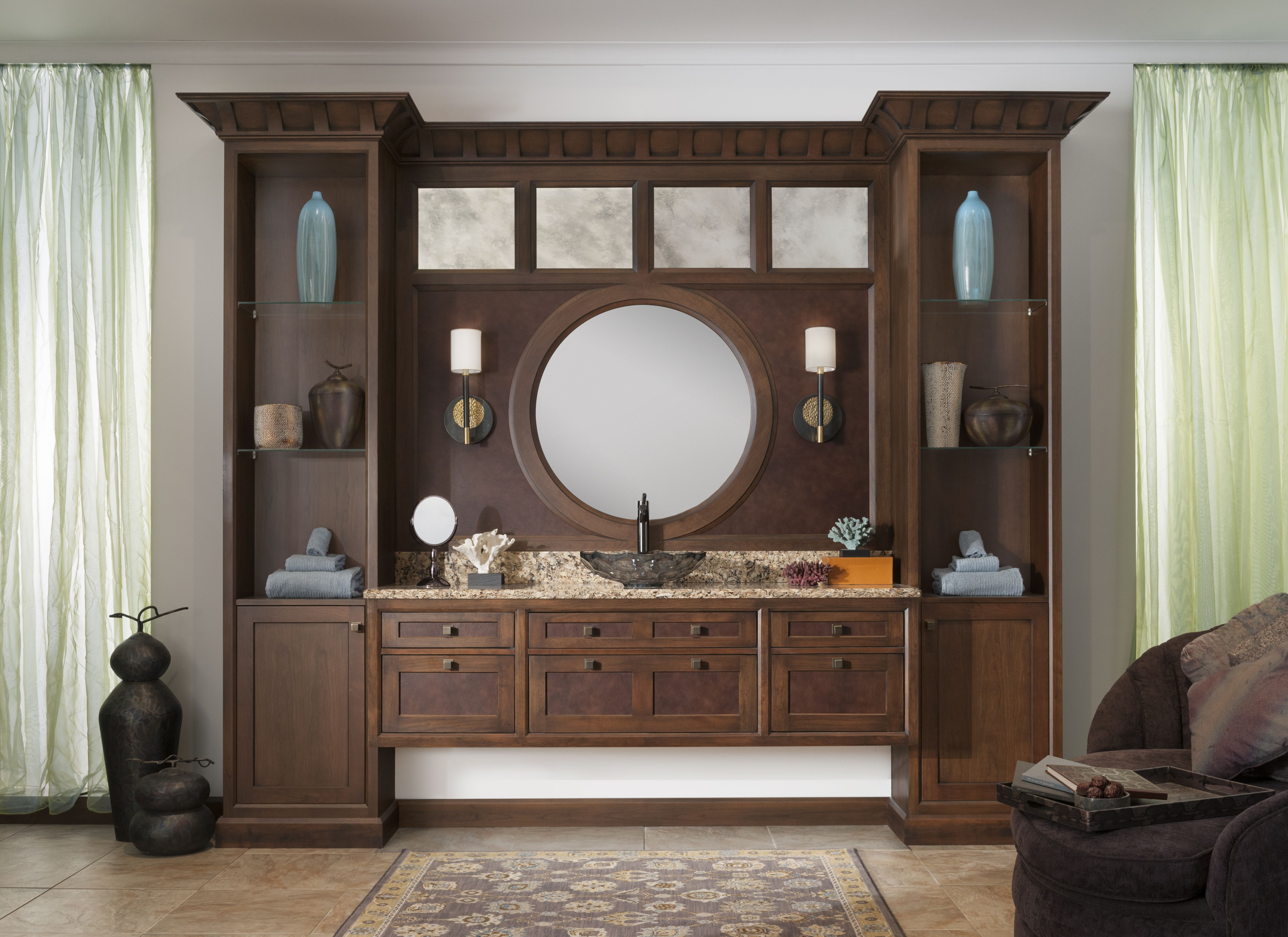 The Morningside Bath By Wood Mode Is Traditional With A Twist Antique Mirrors And Leather Drawer Inserts To Wood Mode Custom Cabinetry Kitchen And Bath Design