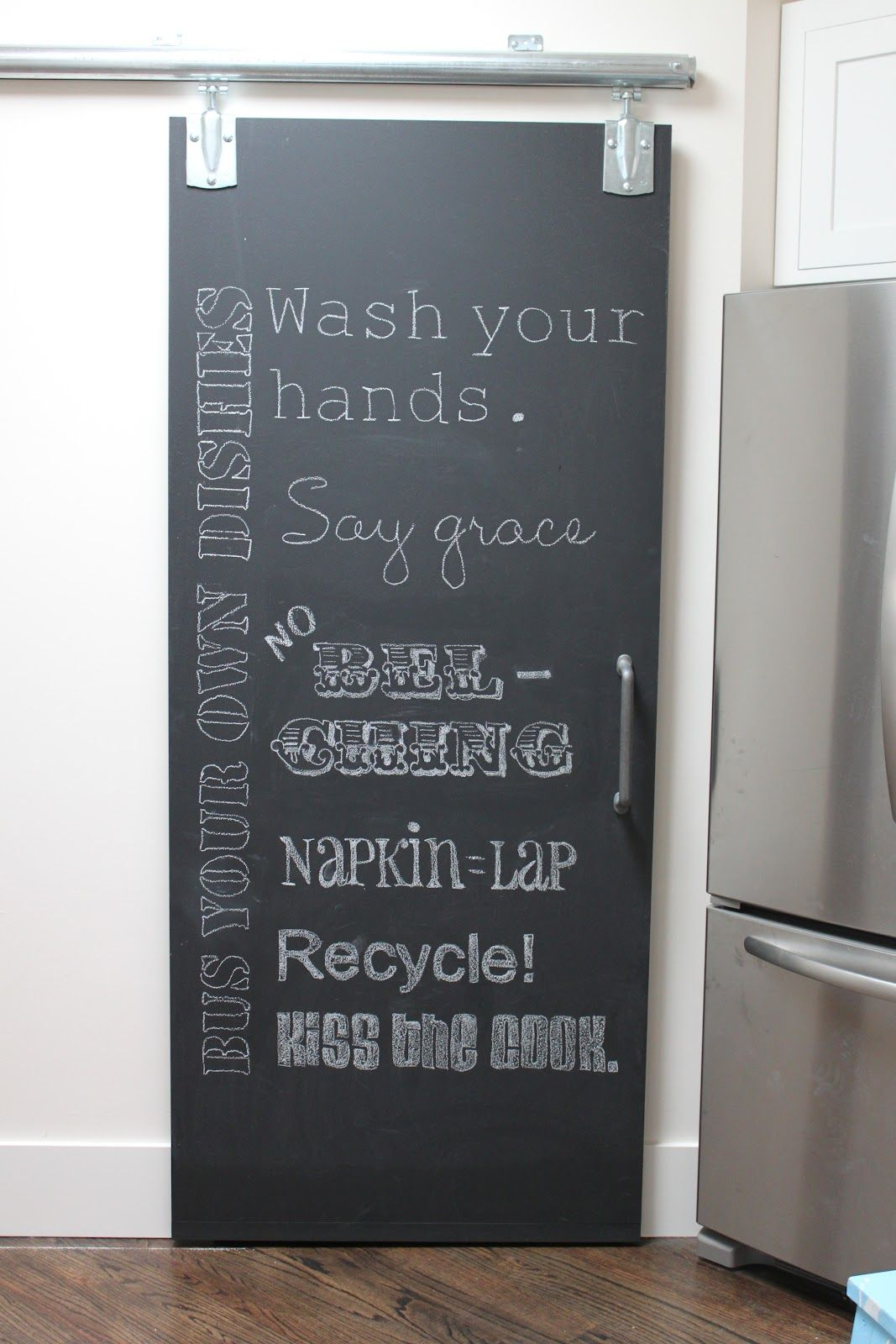 Chalkboard Pantry Door Letters Traced On With An Overhead