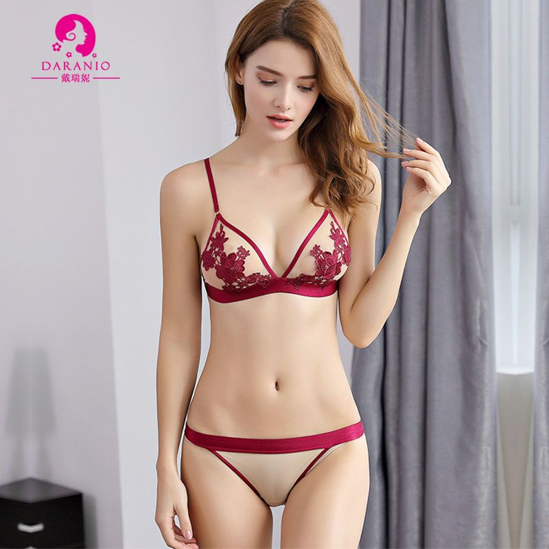 584ed04ed ... Thin 3 4 Sexy Bra   Brief Sets Brassiere Underwear Bralette Triangle  Suits with Exquisite Floral Embroidery for Young Girls and College Girl  Students
