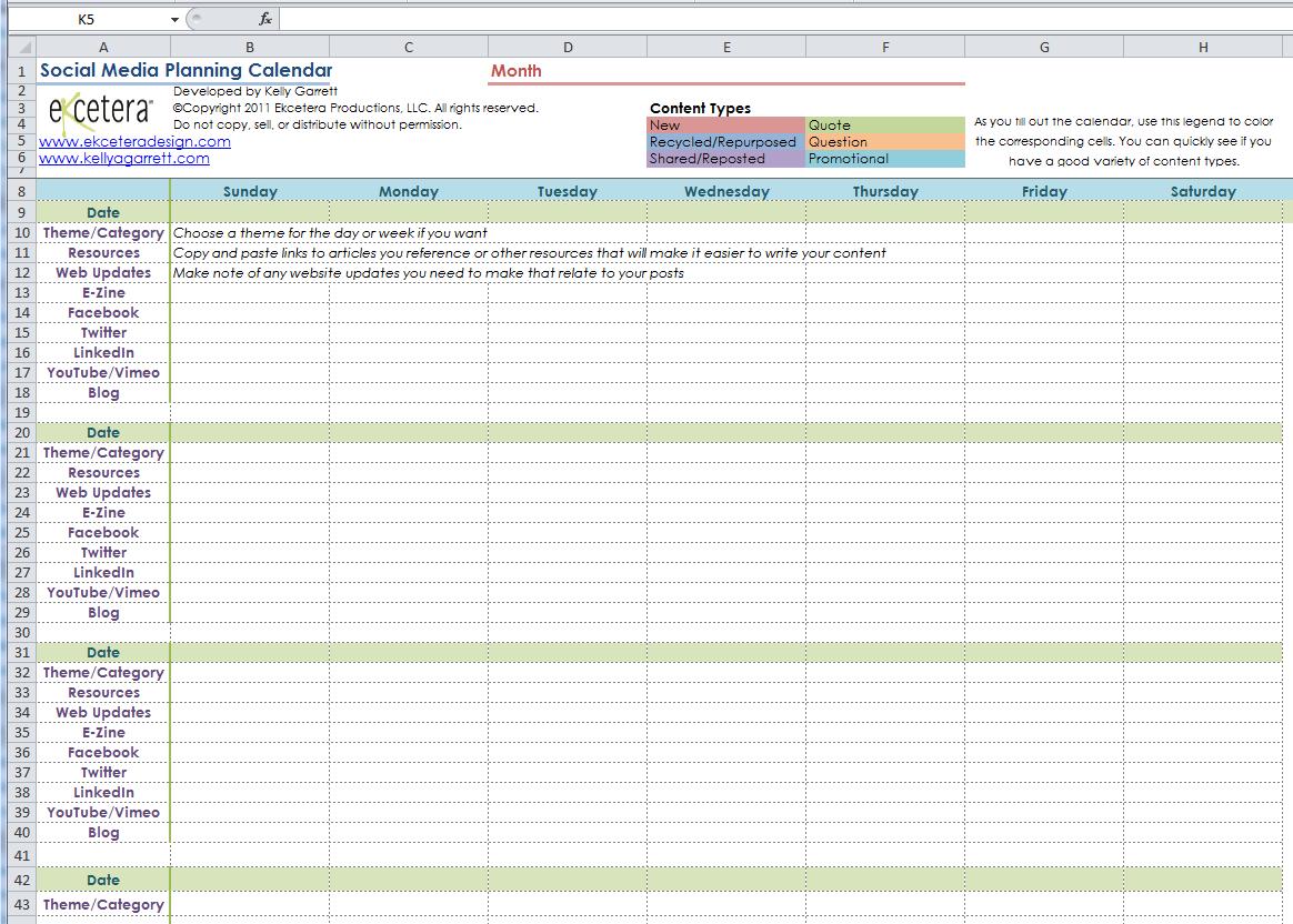 Social Media Calendar Template Social Media Calendar Template - Communications calendar template