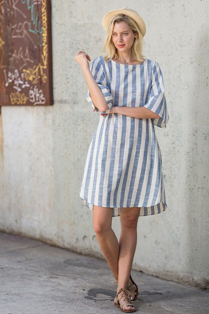 Vertical Striped Chambray Pocket Dress
