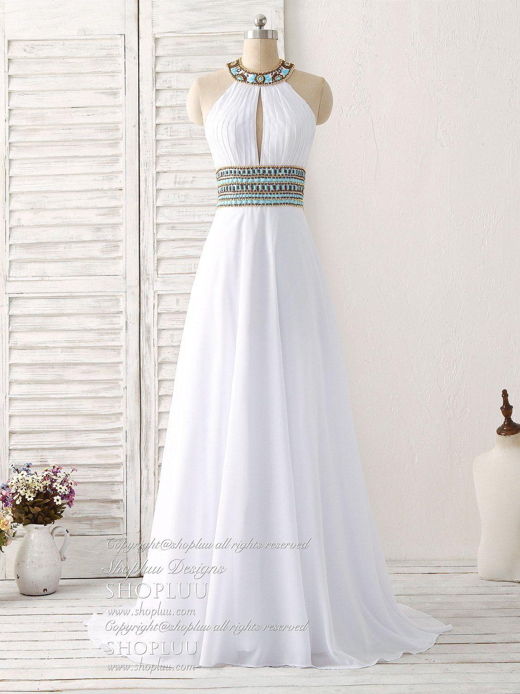 White chiffon beads long prom dress white evening dress
