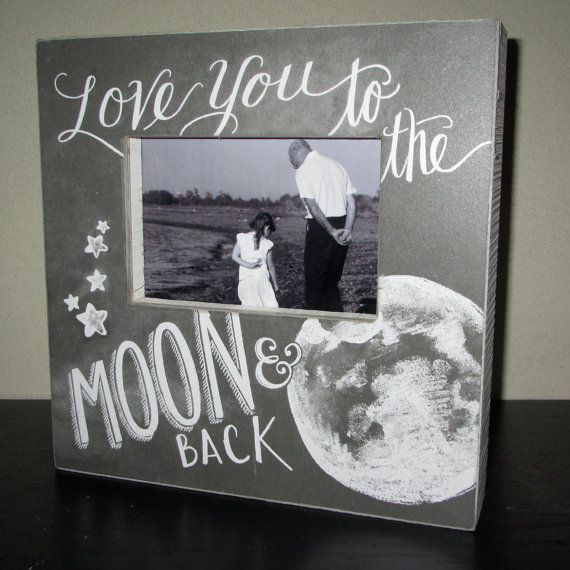 Love You To The Moon And Back Picture Frame Photo Frame Sign Chalk