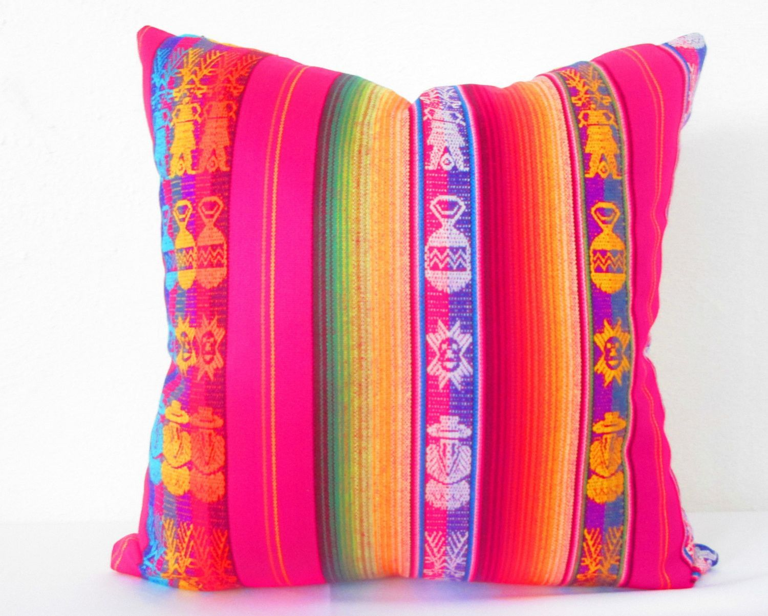 Mexican Pillow Cover, 19 Inch tribal pillows, Aztec Home Decor ...