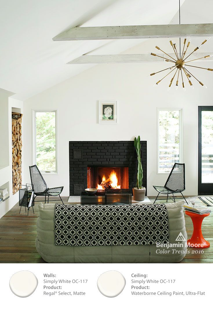 White Pairs Beautifully With Black In This Cozy Scandinavian Inspired Living Room Colortrends2016 Benjaminmoore