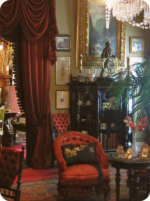 Victorian Era Velvet Upholstered Chairs With Elaborate Drapes You Can See The Influence Of Chesterfield Sofa In