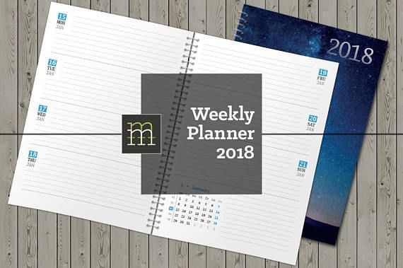 Printable Weekly Planner  Indesign Template  Calendars