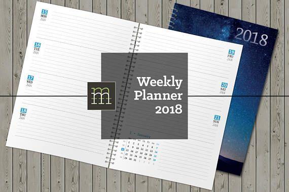 Printable Weekly Planner  Indesign Template  Calendars