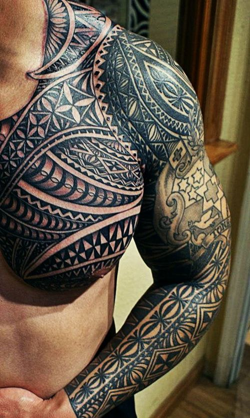 f99bd740250ec sleve chest tattoo   Awesome Black Ink Maori Tribal Tattoo on Chest And  Left Sleeve